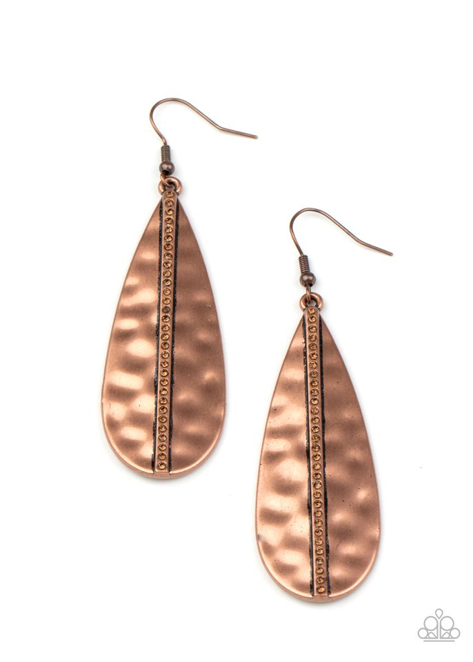 On The Up and UPSCALE - Copper - Paparazzi Earring Image