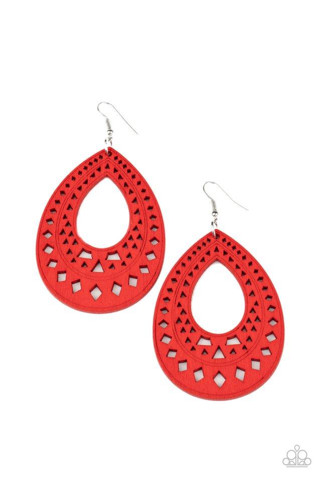 Belize Beauty - Red - Paparazzi Earring Image