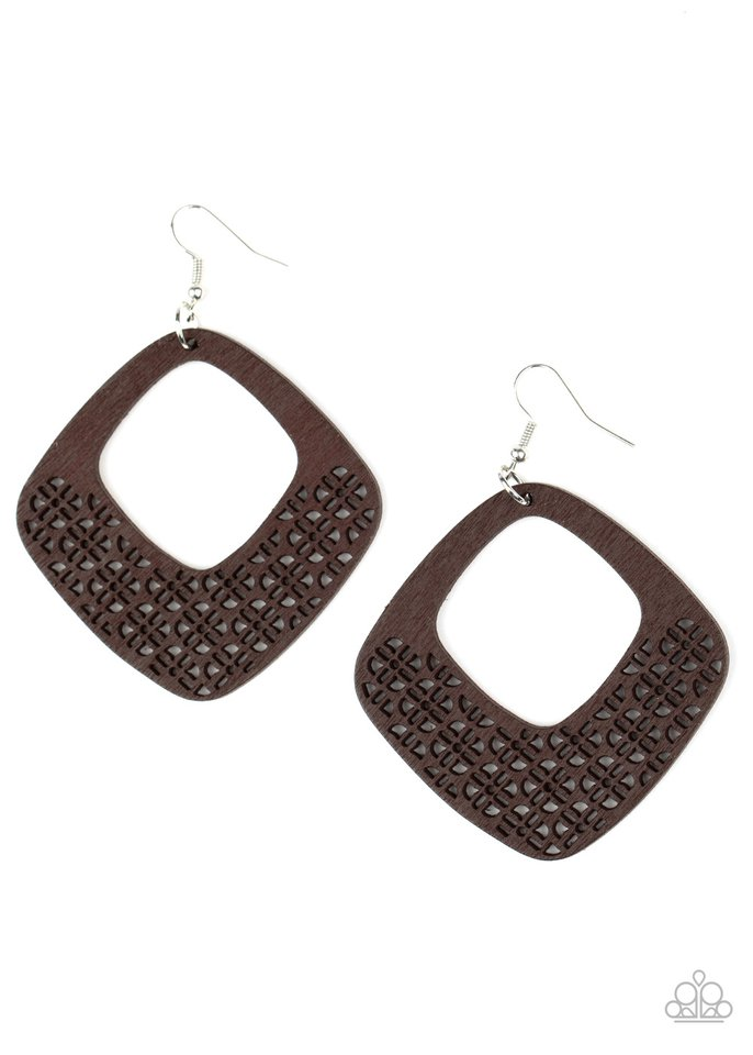 WOOD You Rather - Brown - Paparazzi Earring Image