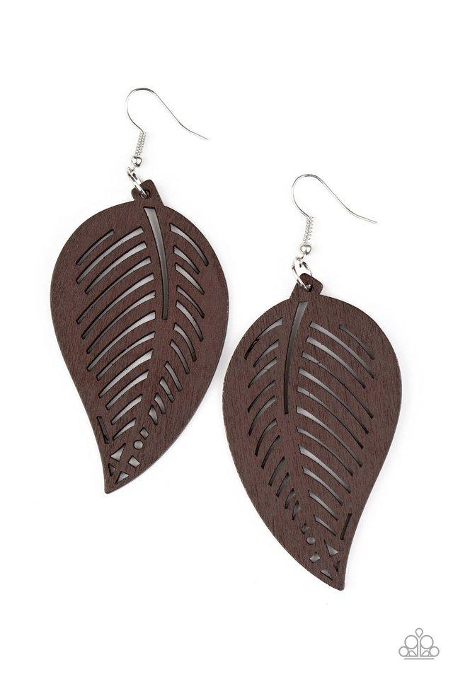 Tropical Foliage - Brown - Paparazzi Earring Image