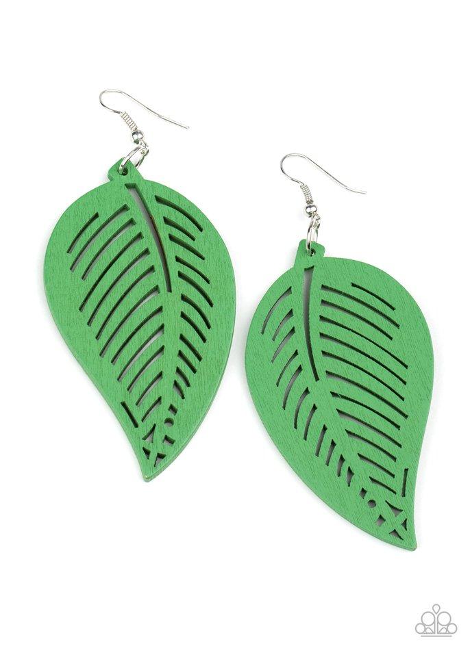 Tropical Foliage - Green - Paparazzi Earring Image