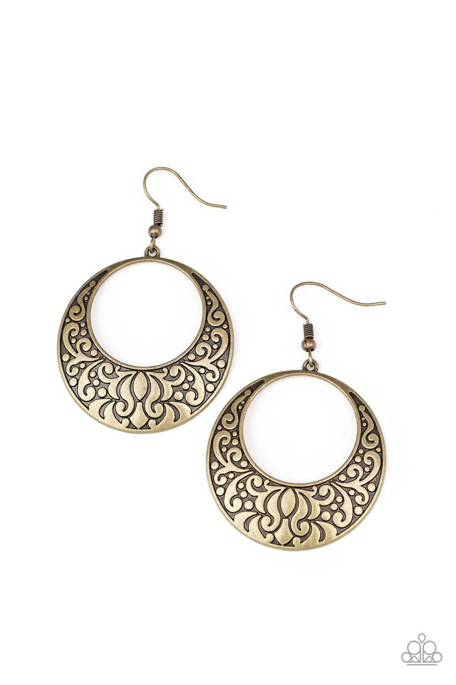 Secret Groves - Brass - Paparazzi Earring Image