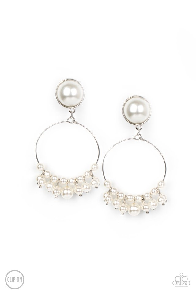 Seize Your Moment - White - Paparazzi Earring Image