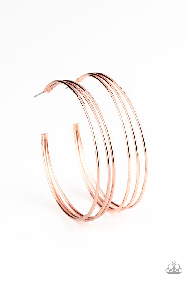 Rimmed Radiance - Copper - Paparazzi Earring Image