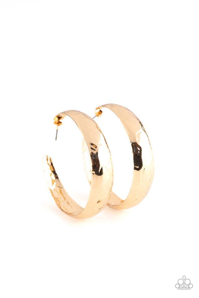Hey, HAUTE-Shot - Gold - Paparazzi Earring Image