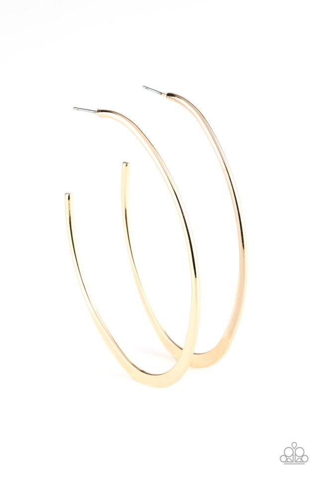 Flatlined - Gold - Paparazzi Earring Image