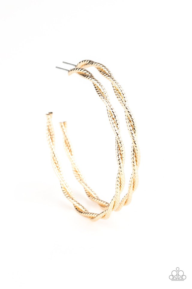 Totally Throttled - Gold - Paparazzi Earring Image