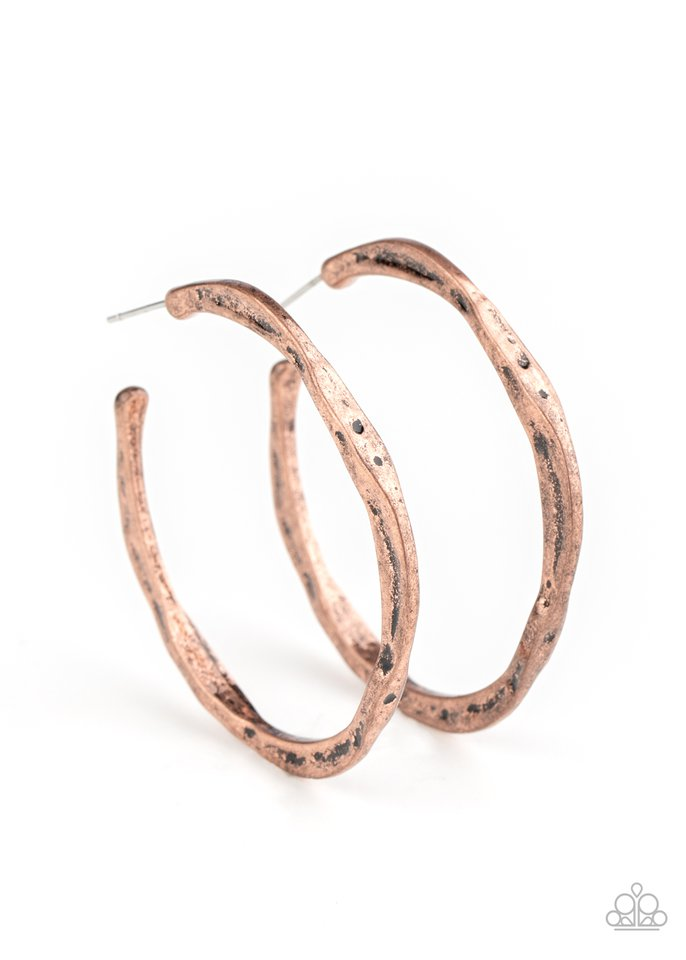 Asymmetrical Attitude - Copper - Paparazzi Earring Image