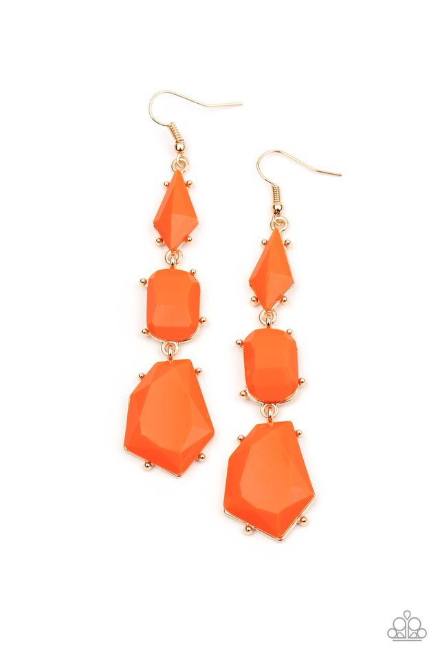 Geo Getaway - Orange - Paparazzi Earring Image