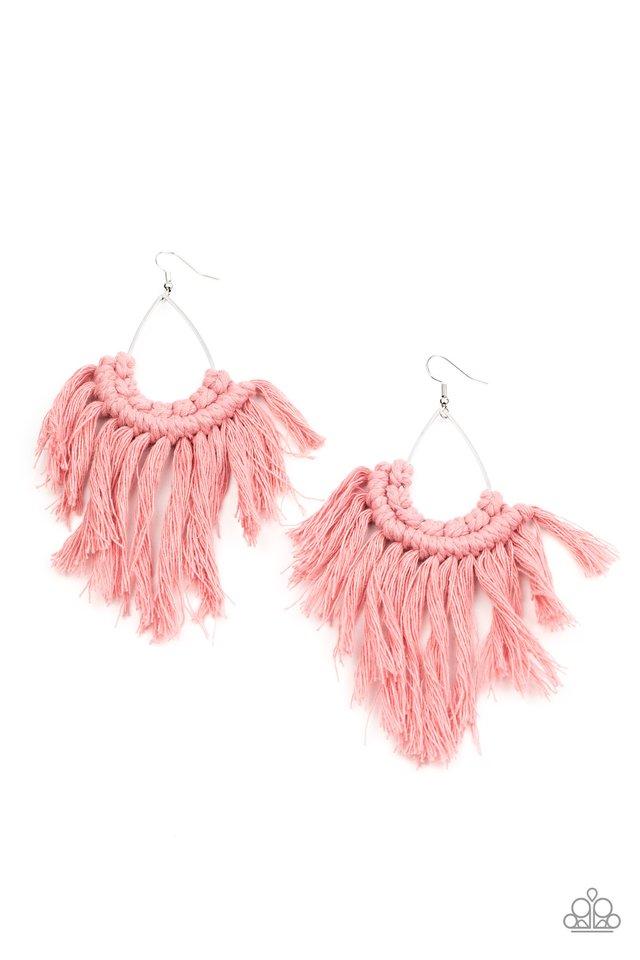 Wanna Piece Of MACRAME? - Pink - Paparazzi Earring Image