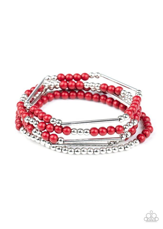BEAD Between The Lines - Red - Paparazzi Bracelet Image