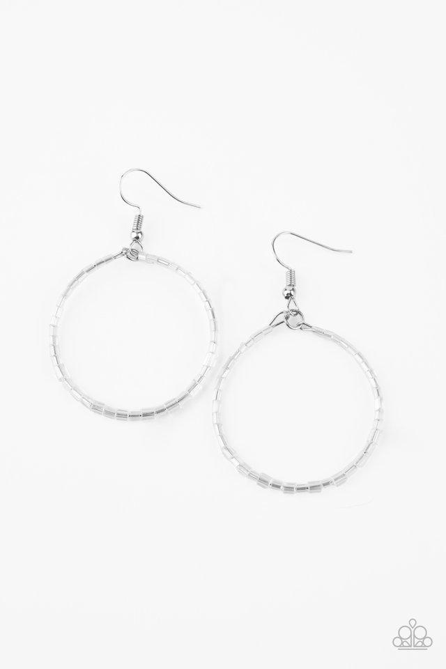 Colorfully Curvy - White - Paparazzi Earring Image