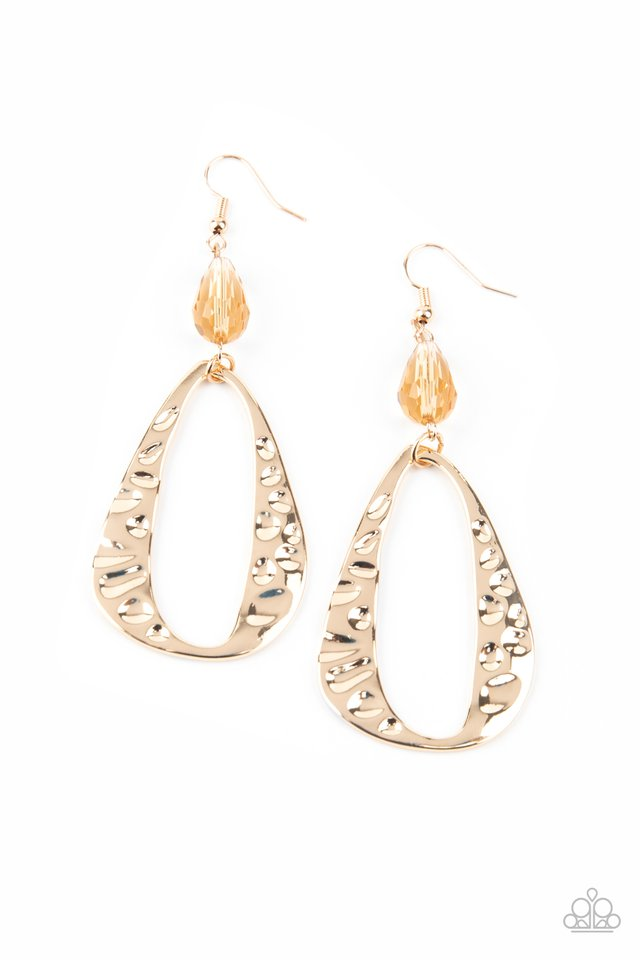 Enhanced Elegance - Gold - Paparazzi Earring Image