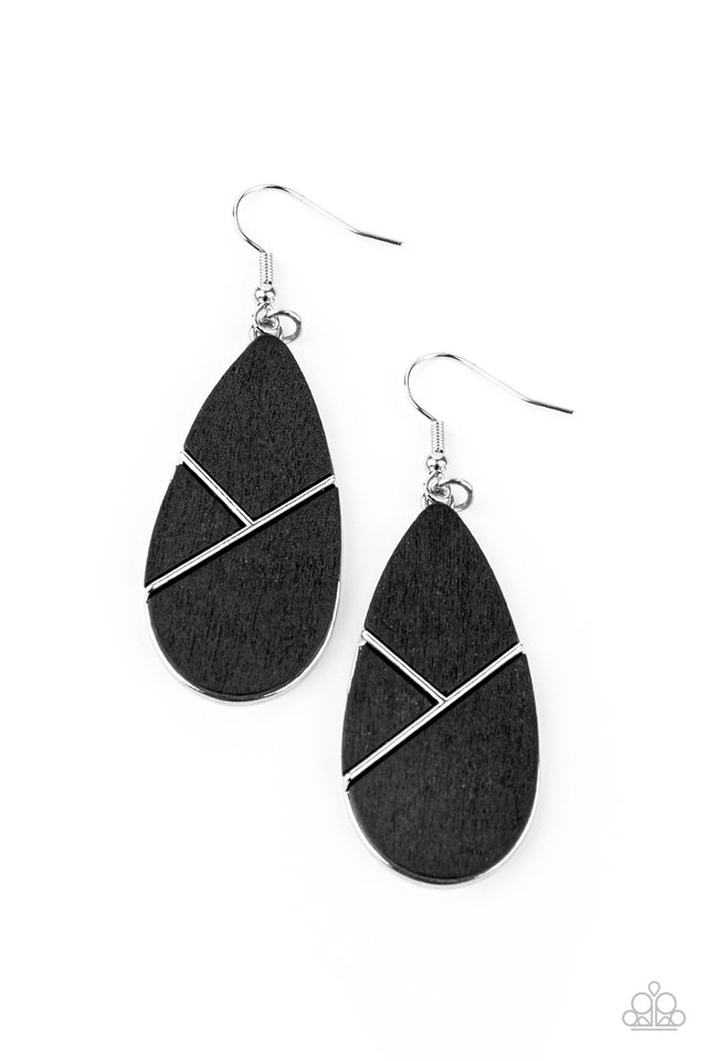 Sequoia Forest - Black - Paparazzi Earring Image