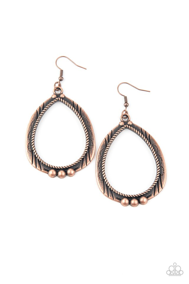 Terra Topography - Copper - Paparazzi Earring Image