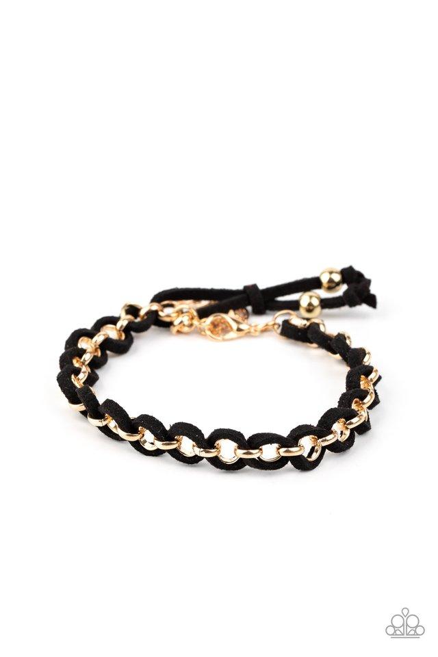 SUEDE Side to Side - Black - Paparazzi Bracelet Image