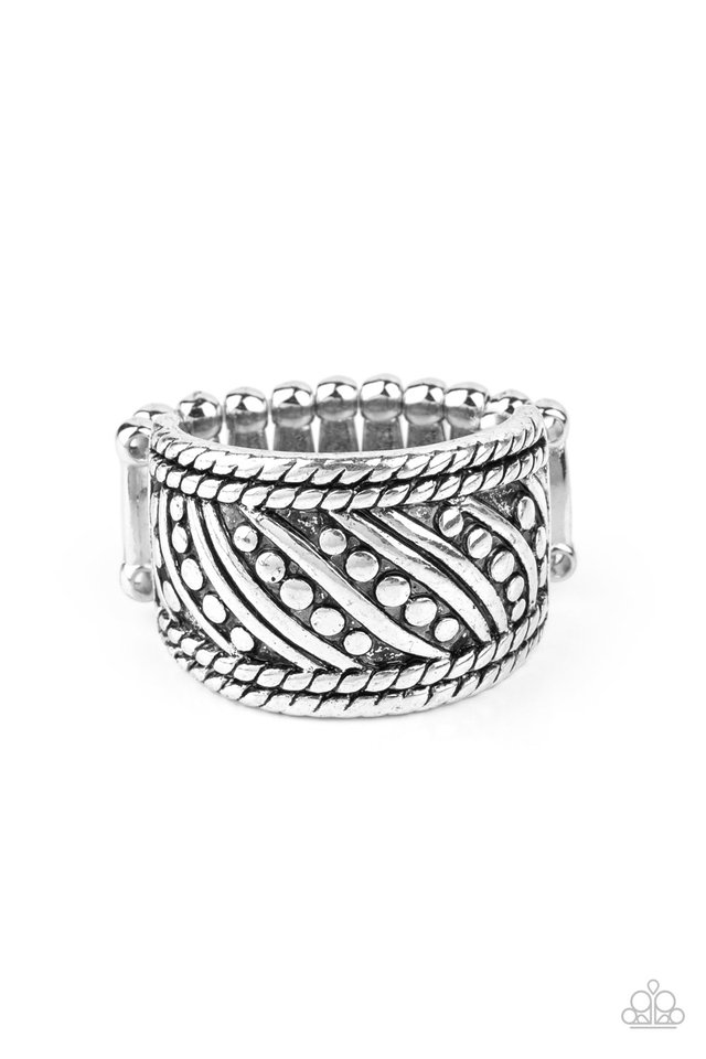 Slanted Shimmer - Silver - Paparazzi Ring Image