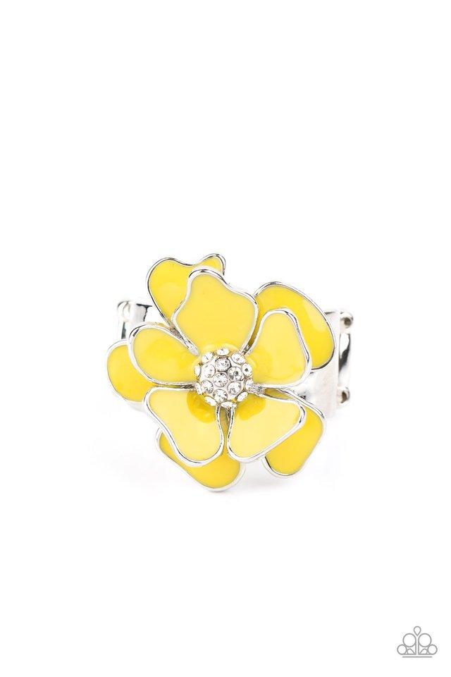 Hibiscus Holiday - Yellow - Paparazzi Ring Image