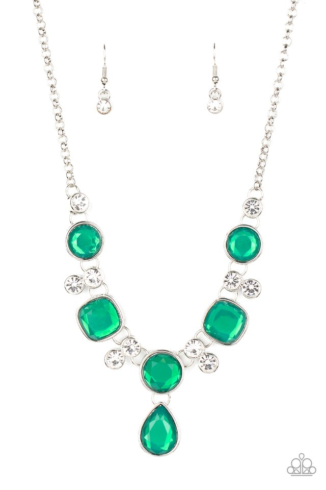 Crystal Cosmos - Green - Paparazzi Necklace Image