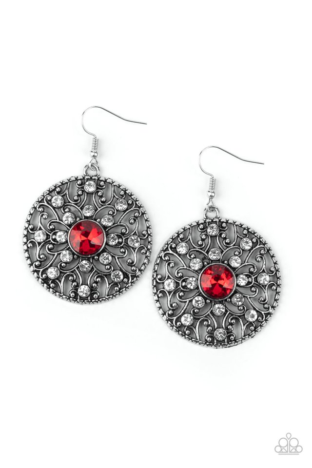 GLOW Your True Colors - Red - Paparazzi Earring Image