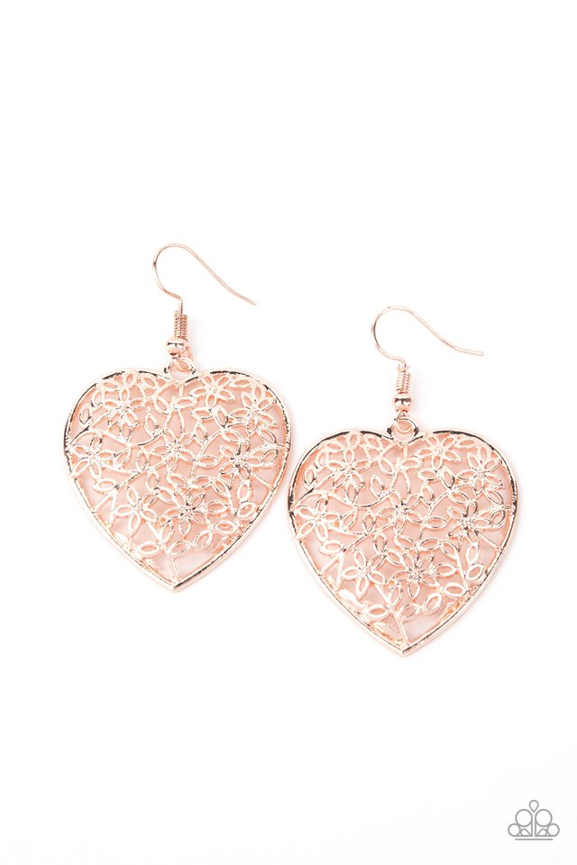 Let Your Heart Grow - Rose Gold - Paparazzi Earring Image