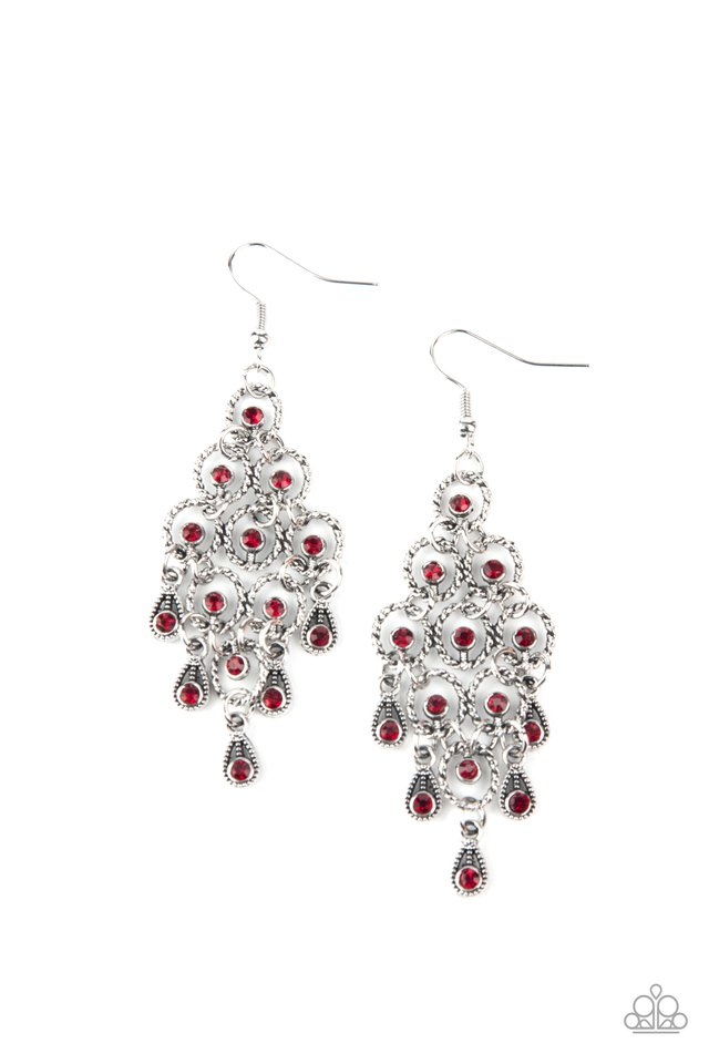 Chandelier Cameo - Red - Paparazzi Earring Image