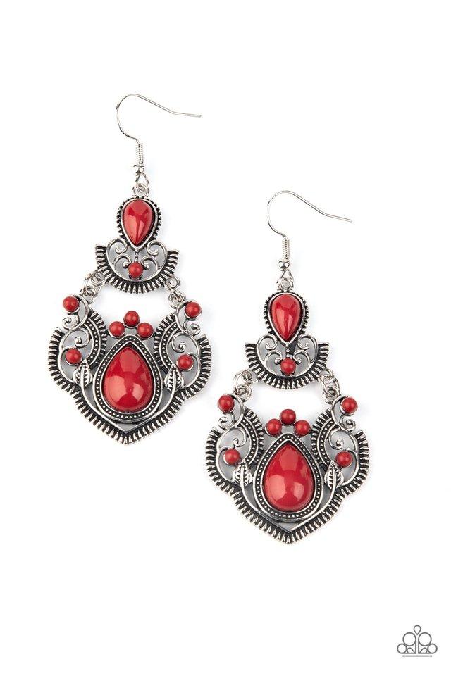 Palm Tree Tiaras - Red - Paparazzi Earring Image