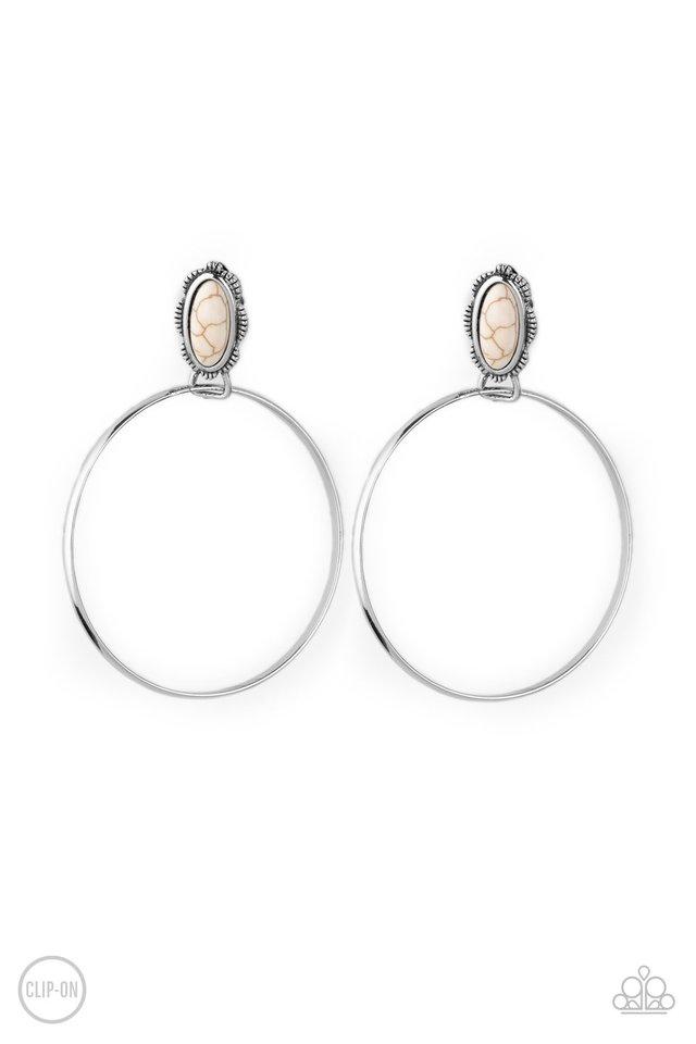 At Long LASSO - White - Paparazzi Earring Image