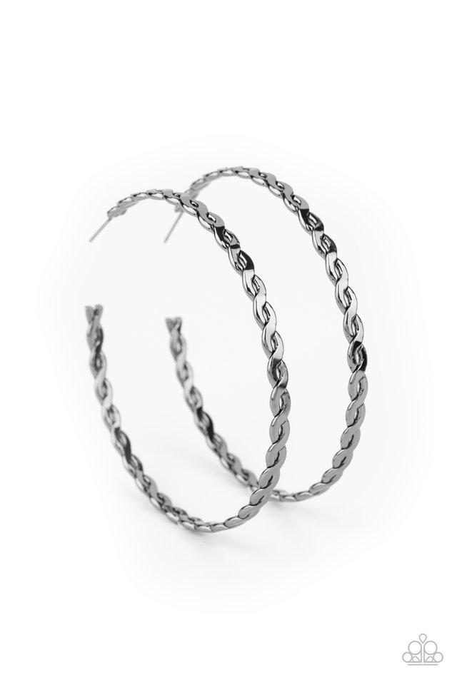 Infinite Twist - Black - Paparazzi Earring Image