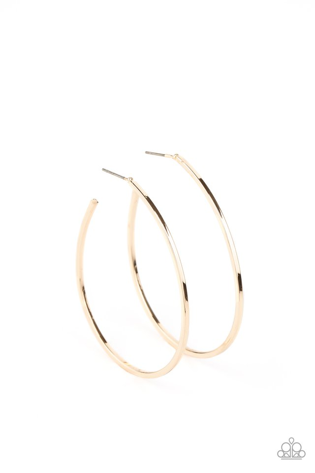 Cool Curves - Gold - Paparazzi Earring Image