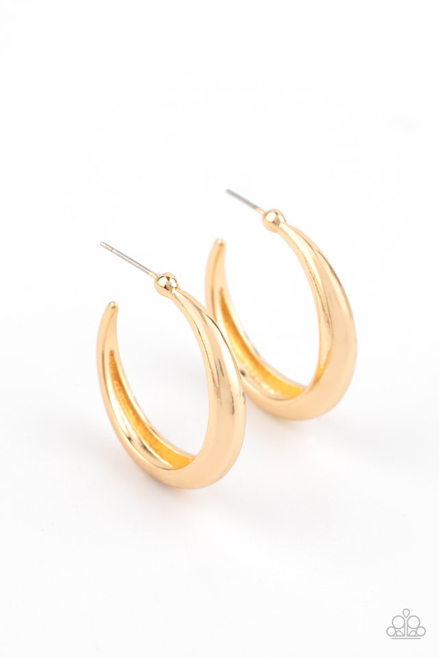 Lay It On Thick - Gold - Paparazzi Earring Image