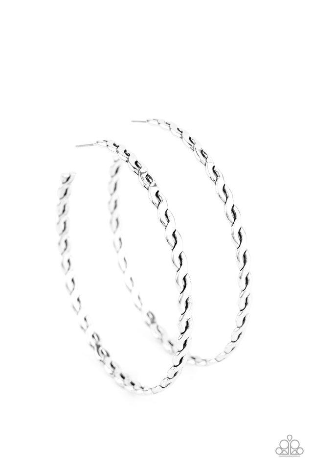 Infinite Twist - Silver - Paparazzi Earring Image