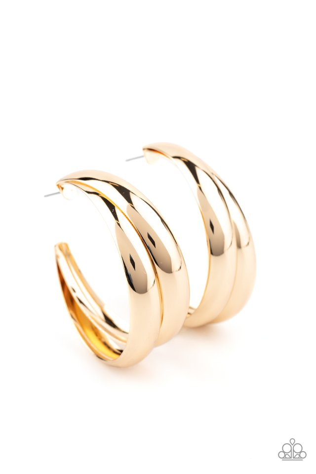 Colossal Curves - Gold - Paparazzi Earring Image