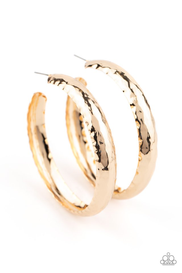 Check Out These Curves - Gold - Paparazzi Earring Image