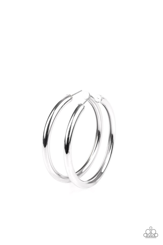 Curve Ball - Silver - Paparazzi Earring Image