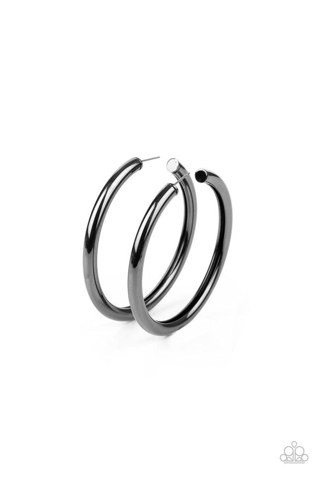 Curve Ball - Black - Paparazzi Earring Image