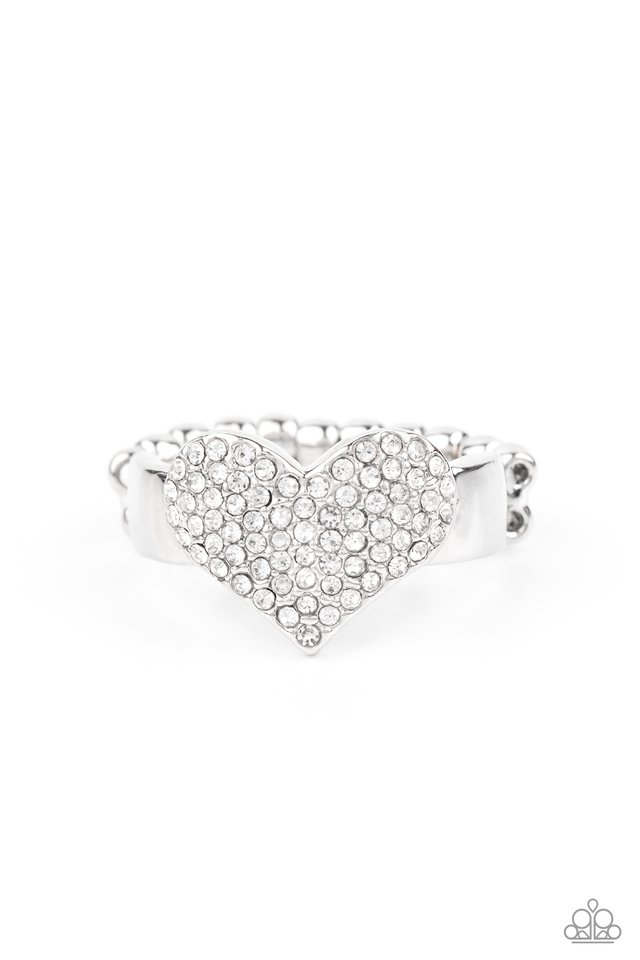 Heart of BLING - White - Paparazzi Ring Image