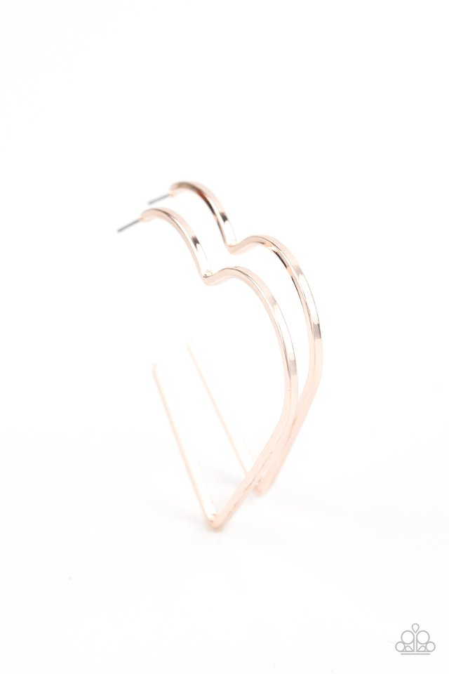 I HEART a Rumor - Rose Gold - Paparazzi Earring Image