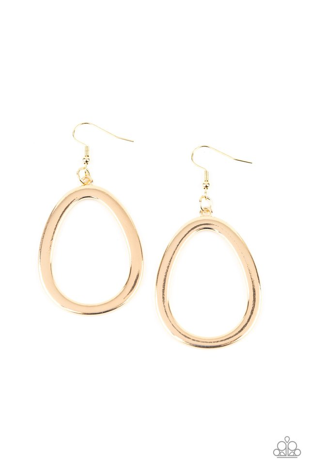 Casual Curves - Gold - Paparazzi Earring Image