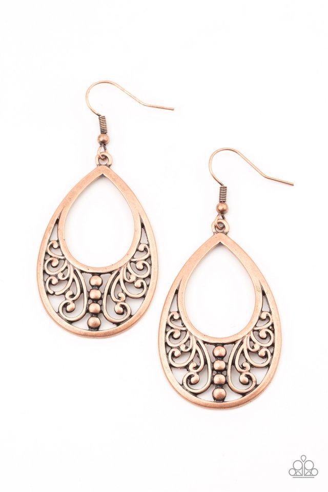 Stylish Serpentine - Copper - Paparazzi Earring Image
