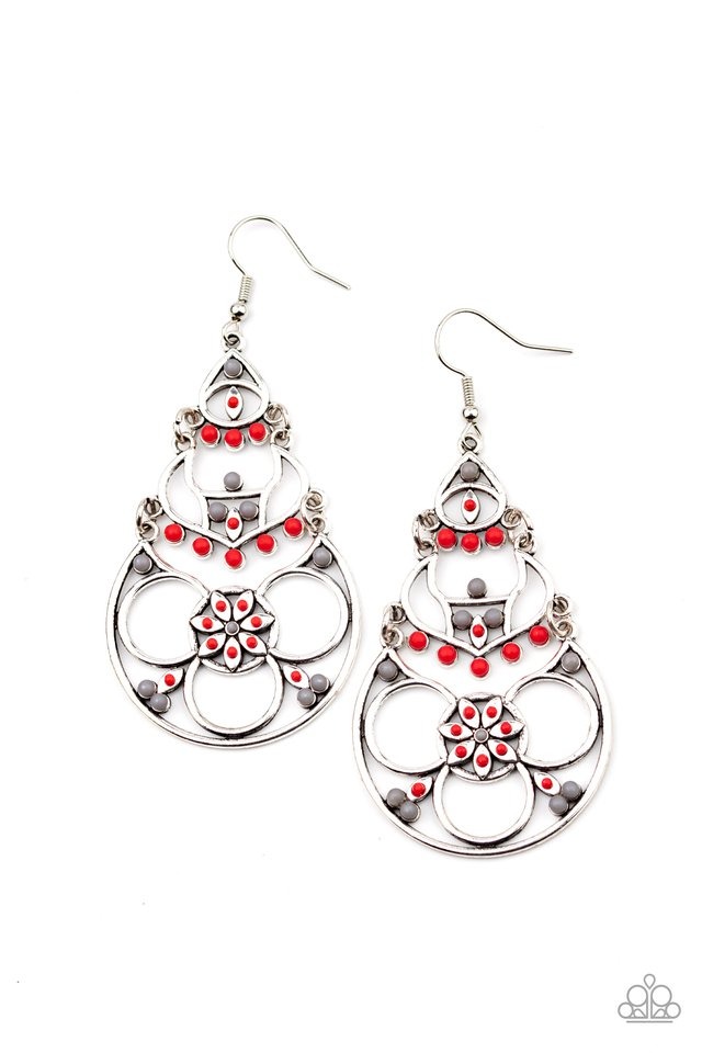 Garden Melody - Red - Paparazzi Earring Image