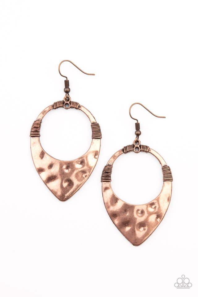 Instinctively Industrial - Copper - Paparazzi Earring Image