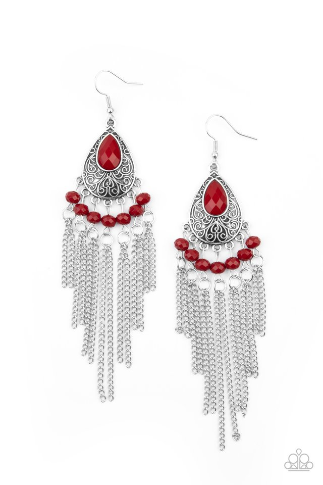 Floating on HEIR - Red - Paparazzi Earring Image
