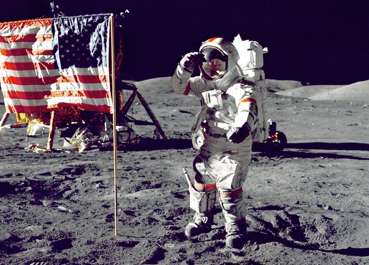 Lunar landing, visible the Omega Speedmaster
