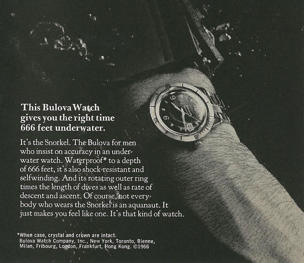 Vintage Bulova Diver Ad. 1966.