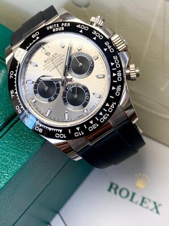 Rolex Daytona White Gold Steel Dial Oysterflex 116519LN