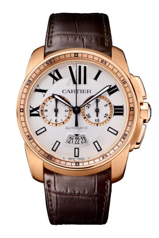 CARTIER Calibre De Cartier Chronograph W7100044 Pink (Rose) Gold Watch