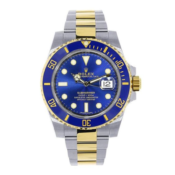 Rolex Submariner Date 18k Yellow Gold/Steel Blue Ceramic Mens Watch 116613