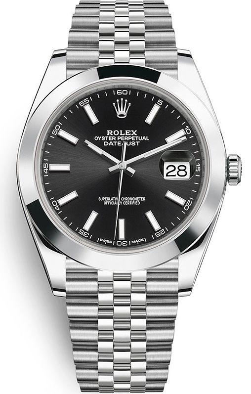 Rolex Datejust 41 mm Steel Case Black Dial Smooth Bezel Jubilee Bracelet Watch Reference 126300-0012