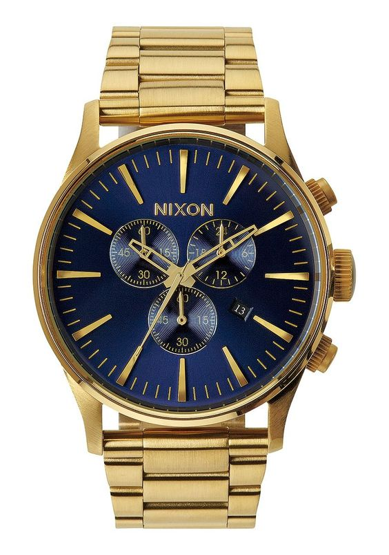 Nixon 42mm Gold Blue Sunray Sentry Chrono Watch